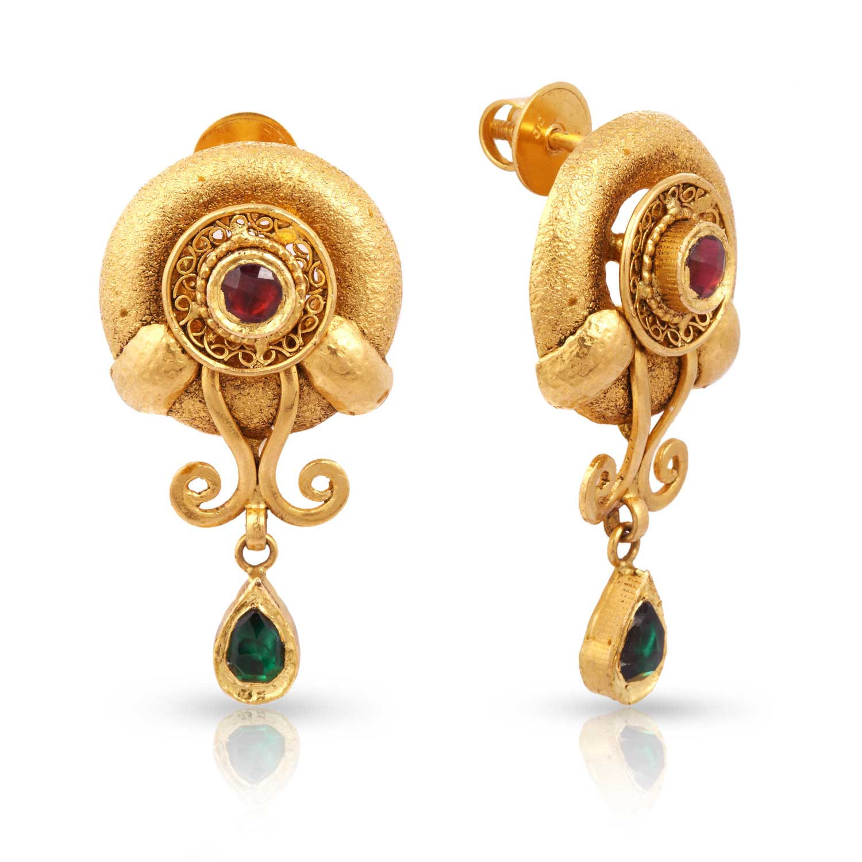 Malabar gold jewellery designs dubai - Ethnix Gold Earring Andaaaaaartc
