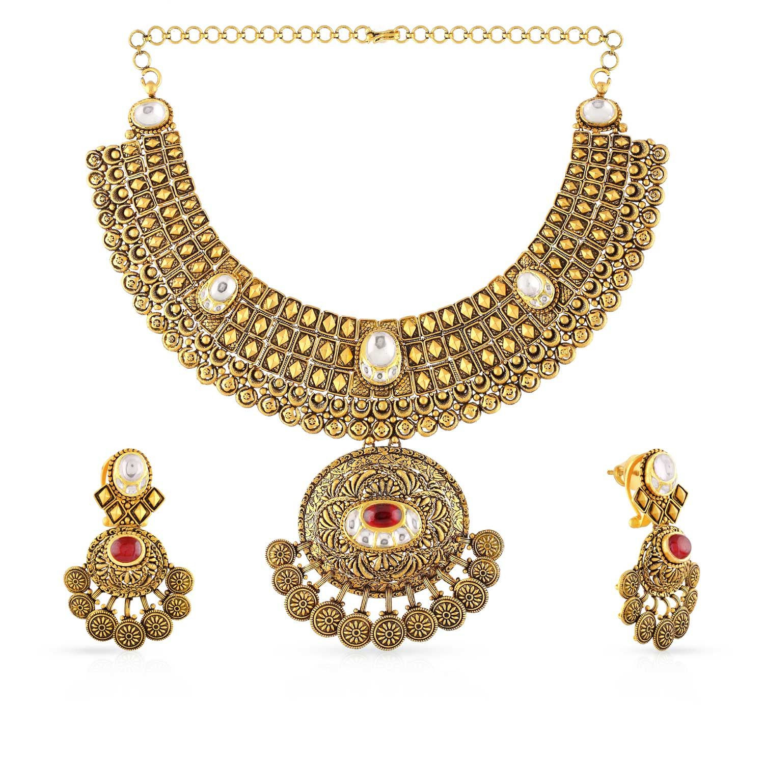 Ethnix gold necklace set nsbd371944 women online malabar for East indian jewelry online