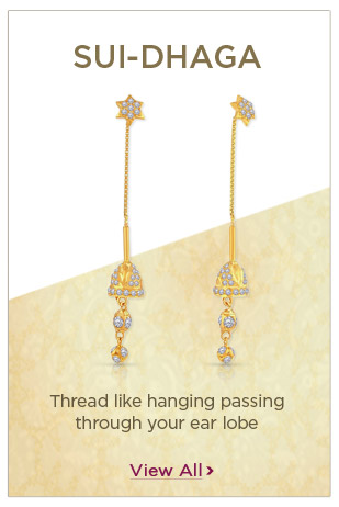Gold Sui-Dhaga Earrings Festival Offers